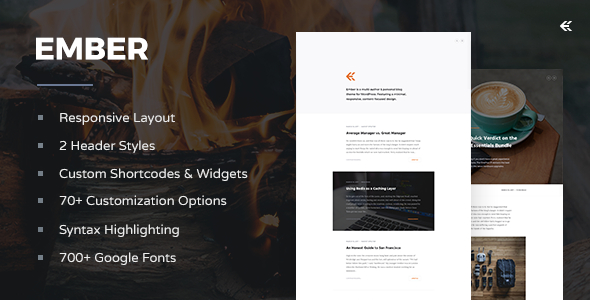 Ember v1.2.0 — Responsive WordPress Blog Theme