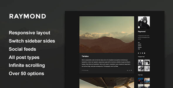 Raymond — Single Column Sidebar Theme