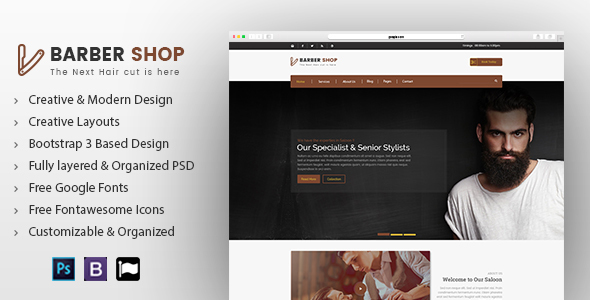 Barber Shop Creative PSD Template