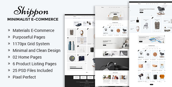 Shippon | Minimalist eCommerce PSD Template