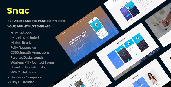 Snac — Premium Responsive App Landing Page HTML5 Template