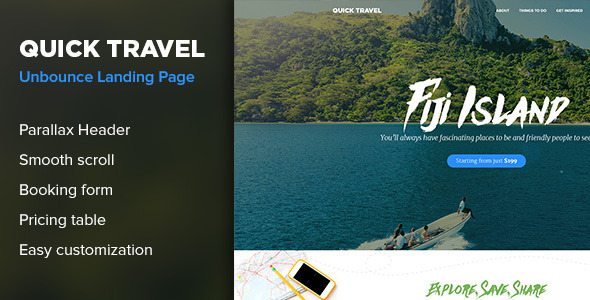 QuickTravel — Responsive Unbounce Landing Page