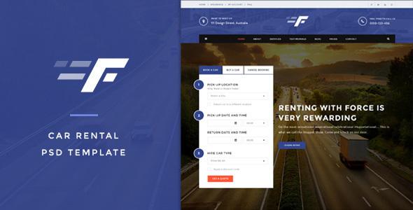 Force — Car Rental & Service PSD Template