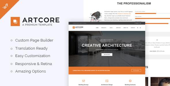 Artcore v1.4 — Building Architecture WordPress Theme