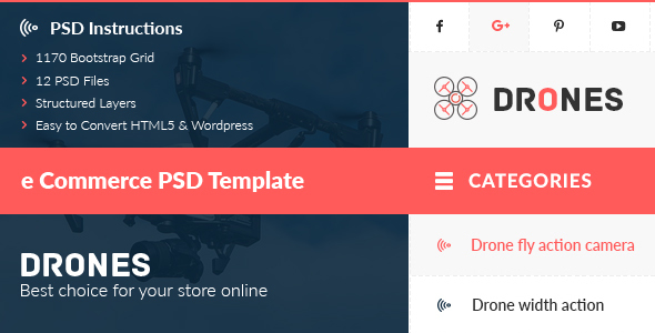Drones — E-Commerce PSD Template
