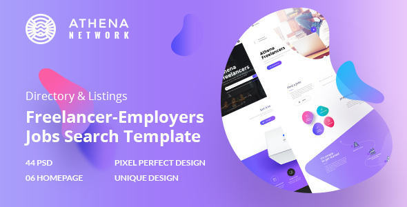ATHENA — Freelancer and Employers Jobs Search PSD Template
