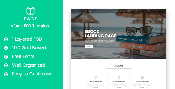 Page — eBook Selling Landing Page PSD Template