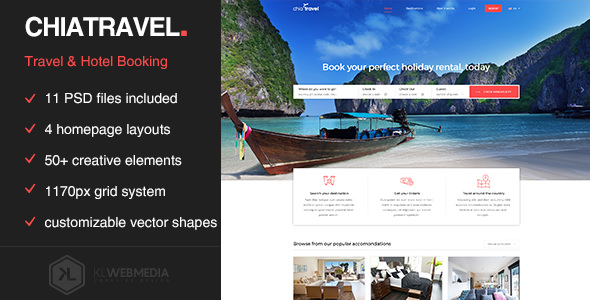 Chiatravel — Travel & Hotel Booking PSD template