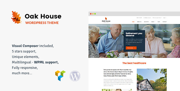 Oak House v1.7 — Senior Care, Retirement, Rehabilitation WordPress Theme