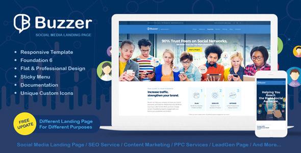 Buzzer v1.0.3 — Responsive Social Media Landing Page