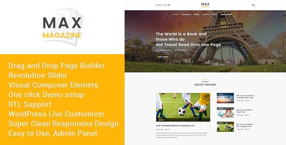 Max Magazine v1.0 — News and Blog WordPress Theme
