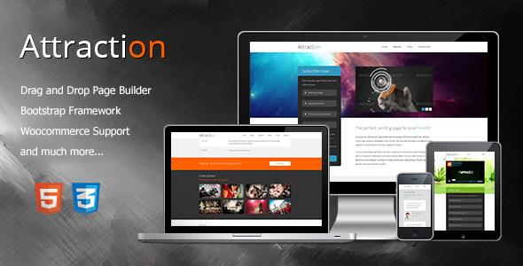 Attraction v1.0 — Responsive WordPress Landing Page Theme