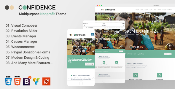 Confidence v3.0 — Multipurpose Nonprofit WordPress Theme