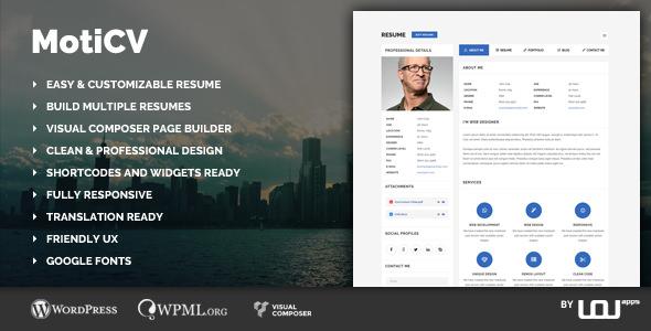 Moticv v1.0.1 — vCard and Resume Builder WordPress Theme