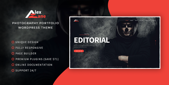 Alex Zane v1.0.1 — Photo/Portfolio WordPress Theme