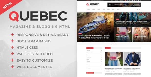 Quebec — News, Magazine & Blogging HTML Template
