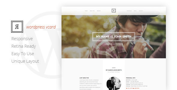 RIVAL v1.0 — One Page Vcard WordPress Theme