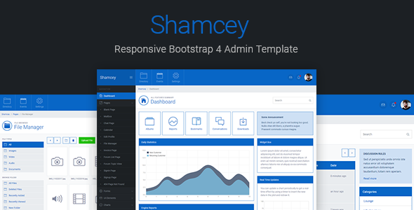 Shamcey v2.0 — Metro Style Bootstrap 4 Admin Template