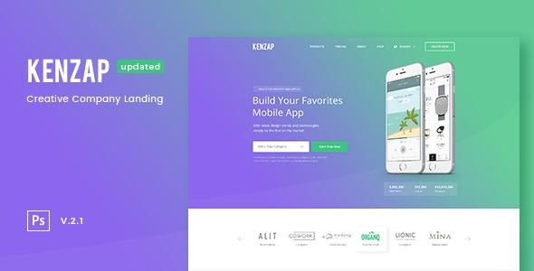 Kenzap — Creative Company Landing PSD Template