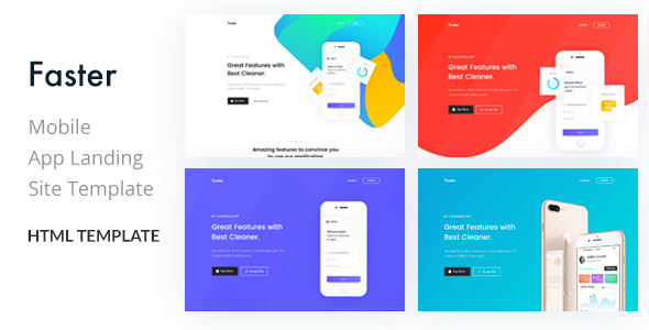 Faster — App Landing Page HTML Template