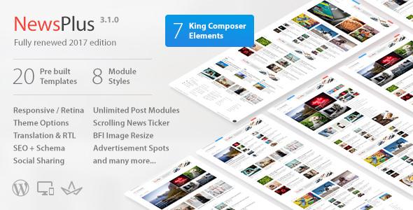 NewsPlus v3.1.4 — News and Magazine WordPress theme