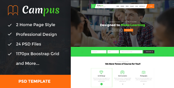 Campus — Education, Course, e-Learning and Events PSD Template
