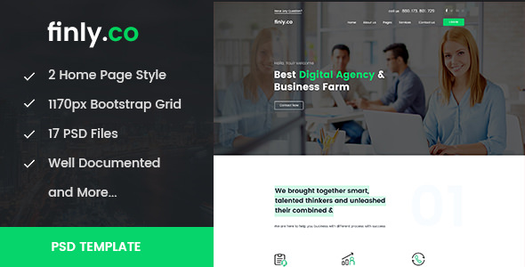 finly.co — Business & Digital Agency PSD Template