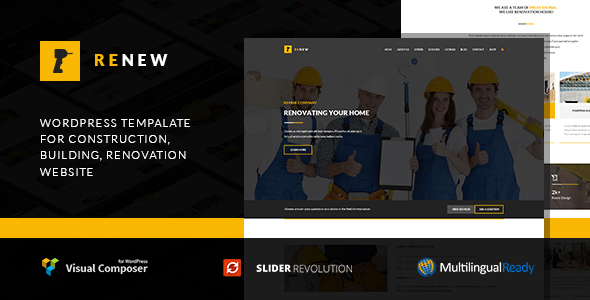 Renew v1.2.3 — Building, Renovation and Construction WordPress Theme
