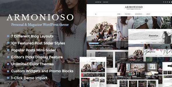 Armonioso v1.2.9 — Personal & Magazine Responsive Blog