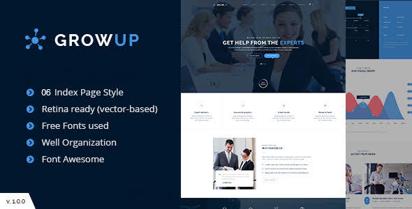 GrowUp v1.0.0 — Business & Financial WordPress Theme