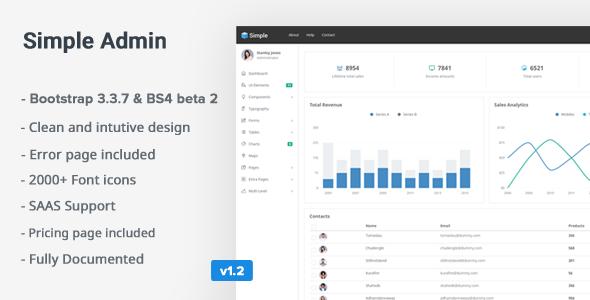 SimpleAdmin v1.2 — Responsive Bootstrap 4 Admin Template