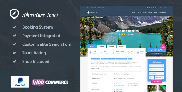 Adventure Tours v3.1.9 — WordPress Tour/Travel Theme