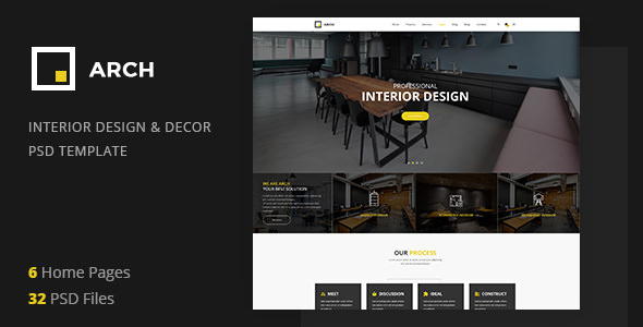 Arch Decor — Interior Design, Architecture and Building Business PSD Template