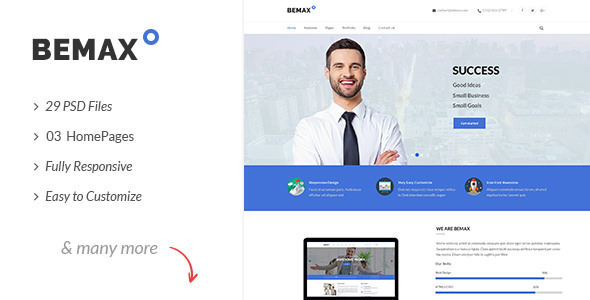 Bemax v1.0 — Multipurpose Corporate Business PSD Template