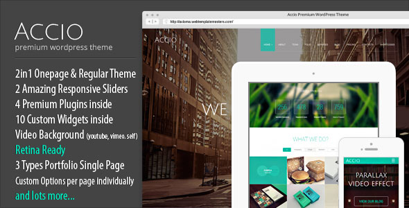 Accio v1.2.3 — One Page Parallax Responsive WordPress Theme