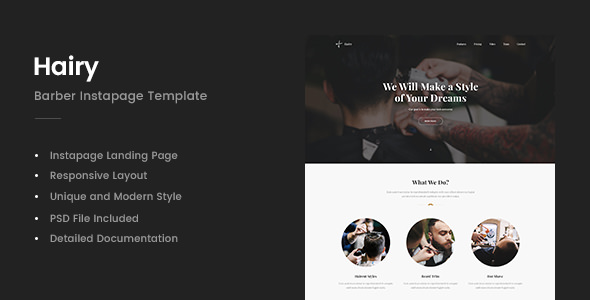 Hairy — Barber Instapage Template