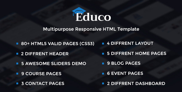 Educo — Elearning, Education Bootstrap Html Template