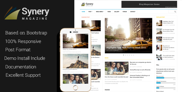 Synery — Responsive Magazine News Drupal Theme