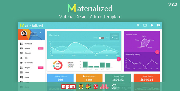 Materialize v3.0 — Material Design Admin Template