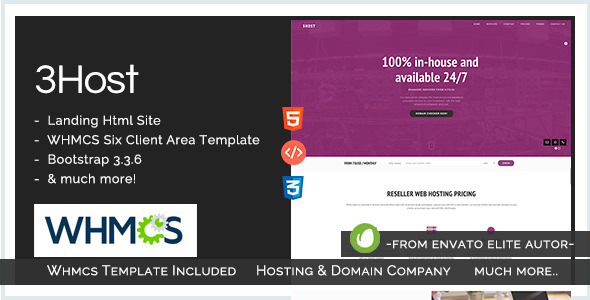 3Host — Hosting Domain Landing Page with WHMCS