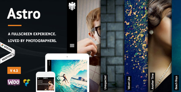 Astro v5.1 — Showcase/Photography WordPress Theme