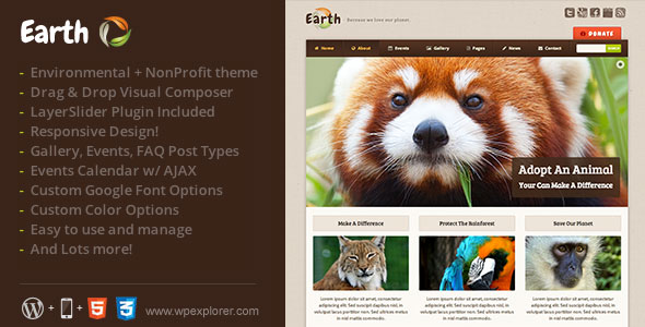 Earth v4.3 — Eco/Environmental NonProfit WordPress Theme
