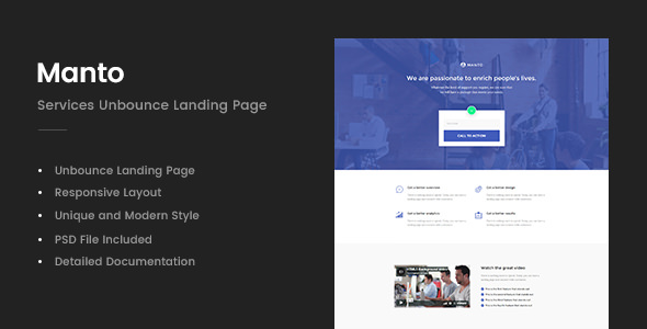 Manto — Services Unbounce Landing Page