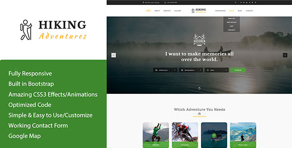 Hiking Adventures v1.0 — Outdoors & Hiking HTML Template