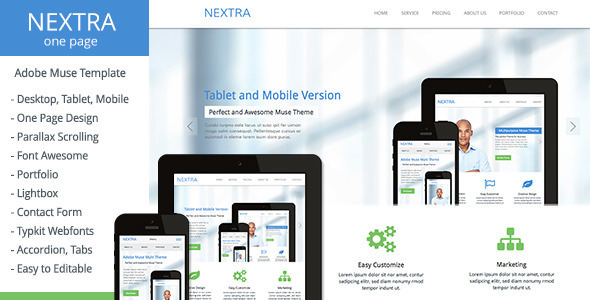 Nextra v1.0 — One Page Muse Template