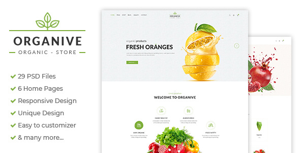 Organive — Organic Store & Eco Food Products PSD Template