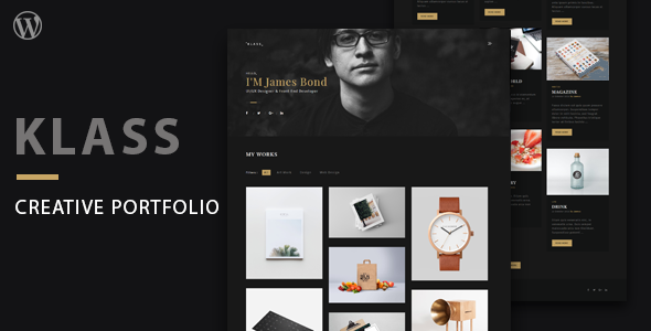 Klass v1.0 — Dark Minimal Portfolio WordPress Theme