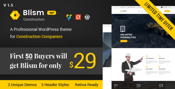 Blism v1.5 – Construction WordPress Theme