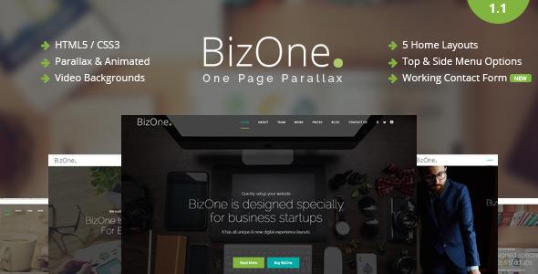 BizOne v1.1 — One Page Parallax