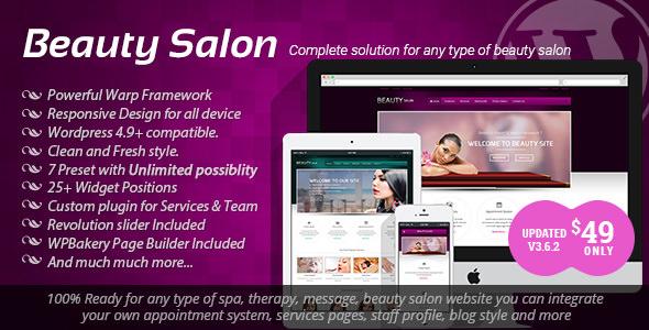 Beauty Salon v3.6.2 — Responsive WordPress Template